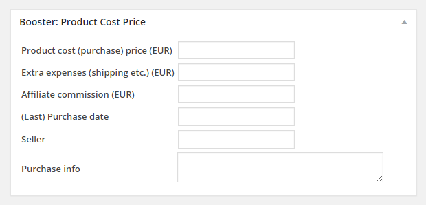 Booster for Woocommerce Product Costs Per Product Backend