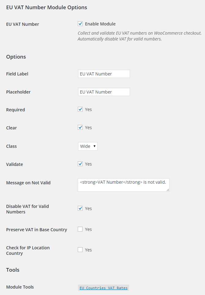 WooCommerce EU VAT Number Module Options