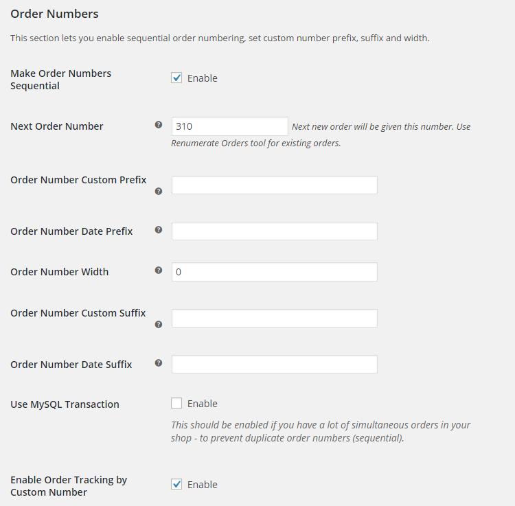 WooCommerce Custom Order Numbers - Admin Settings