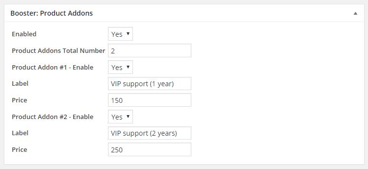 WooCommerce Product Addons - Admin Settings - Product Edit