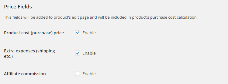 WooCommerce Product Cost Price - Admin Settings - Price Fields