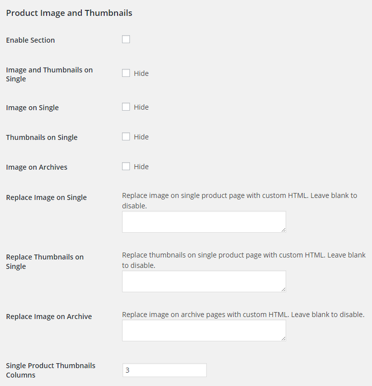 WooCommerce Product Images - Admin Settings - Product Image and Thumbnails