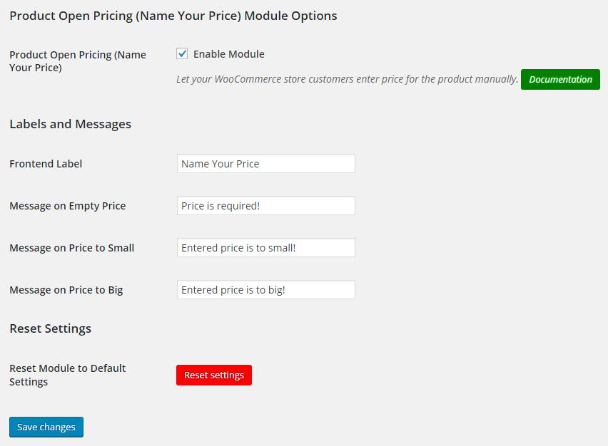 WooCommerce Product Open Pricing (Name Your Price) - Backend