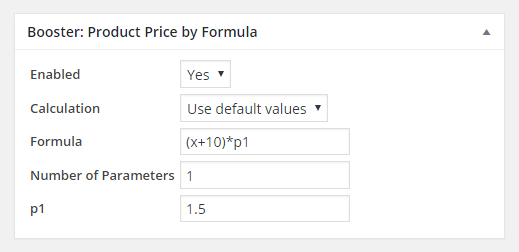 WooCommerce Product Price by Formula - Admin per Product Settings