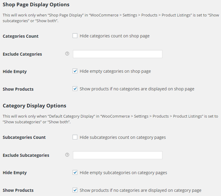 WooCommerce Product Listings - Admin Settings - Shop Page and Category Display