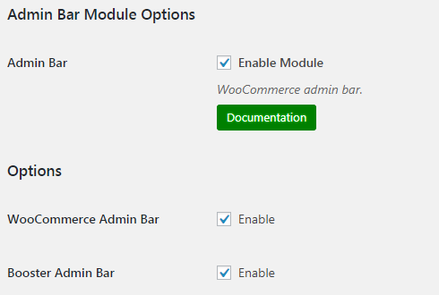 WooCommerce Admin Bar - Admin Settings