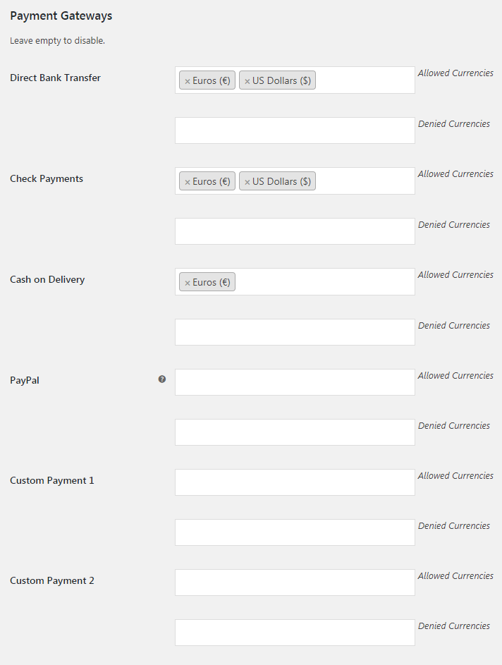WooCommerce Payment Gateways by Currency - Admin Settings
