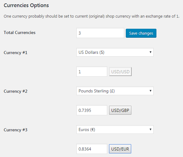 Booster for WooCommerce - Multicurrency Currency Switcher - Admin Settings - Currencies