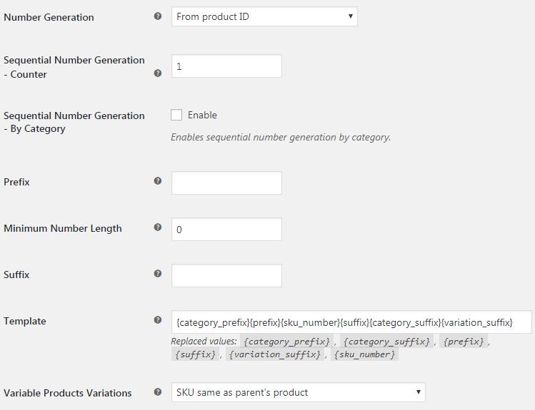 Booster for WooCommerce - WooCommerce SKU - Admin Options - SKU Format Options Section