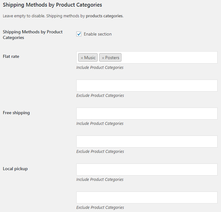 WooCommerce Shipping Methods by Products - Admin Settings - Shipping Methods by Product Categories