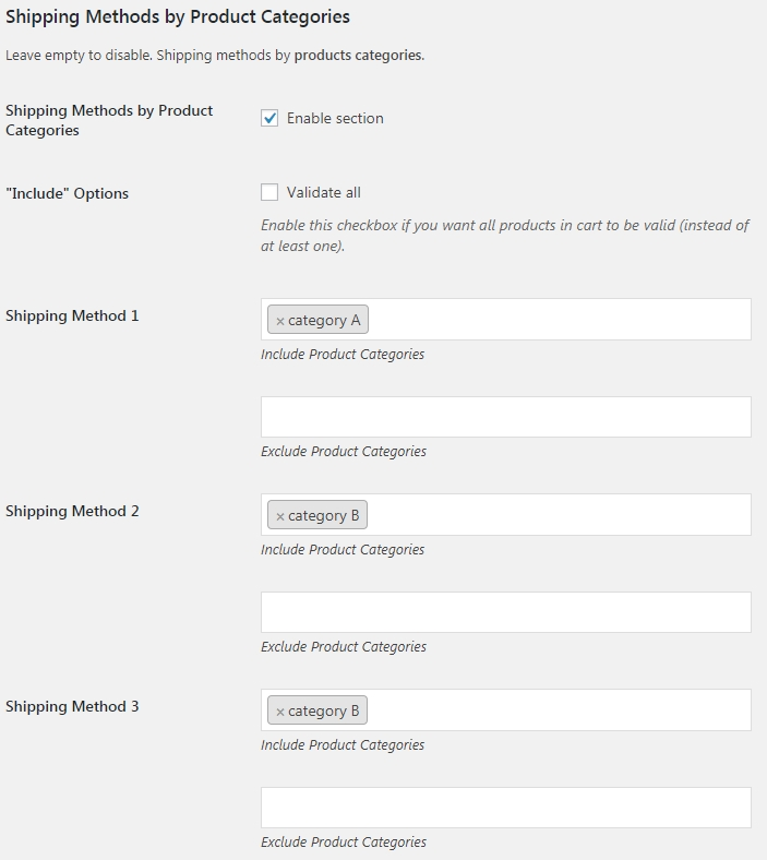WooCommerce Shipping Methods by Products - Usage Example 1