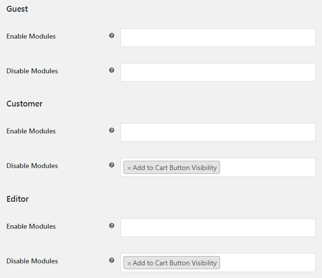WooCommerce Booster Modules By User Roles - Admin Settings