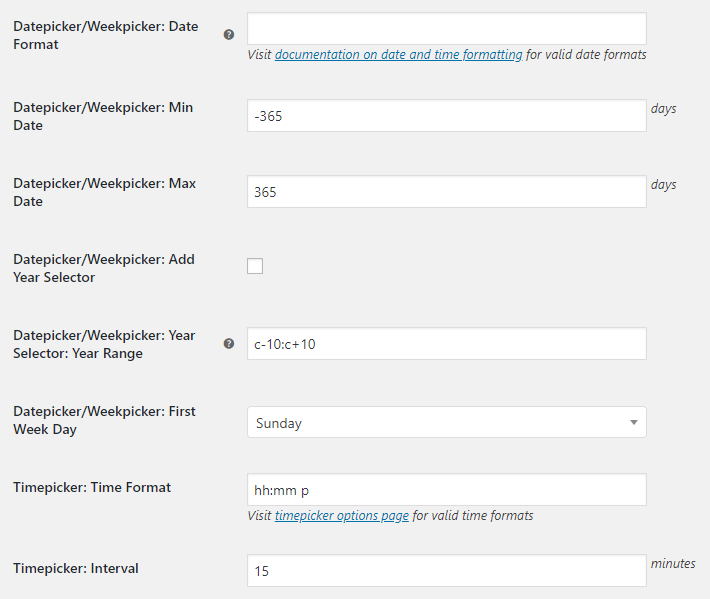 WooCommerce Checkout Custom Fields - Admin Settings - Datepicker Weekpicker Timepicker Options