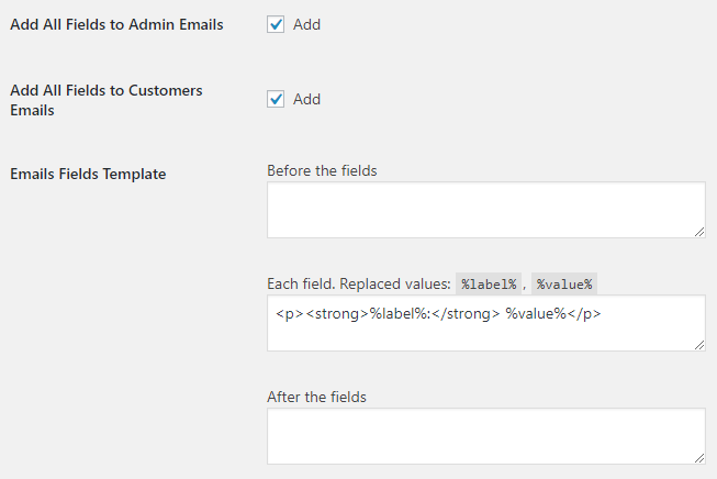 WooCommerce Checkout Custom Fields - Admin Settings - Email Options