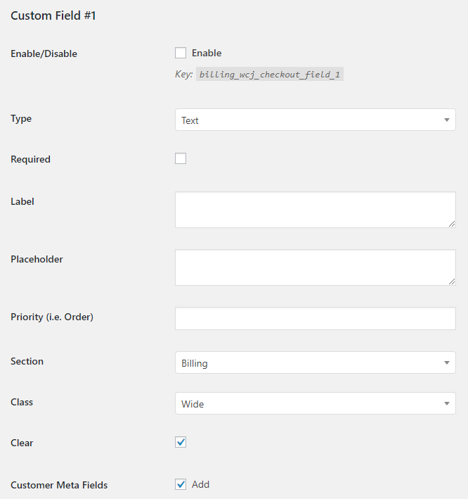 WooCommerce Checkout Custom Fields - Admin Settings - Field General Options