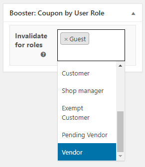 WooCommerce Coupon by User Role - Admin Settings - Per Coupon - Meta Box