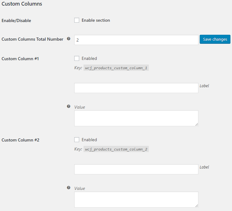 WooCommerce Admin Products List - Admin Settings - Custom Columns