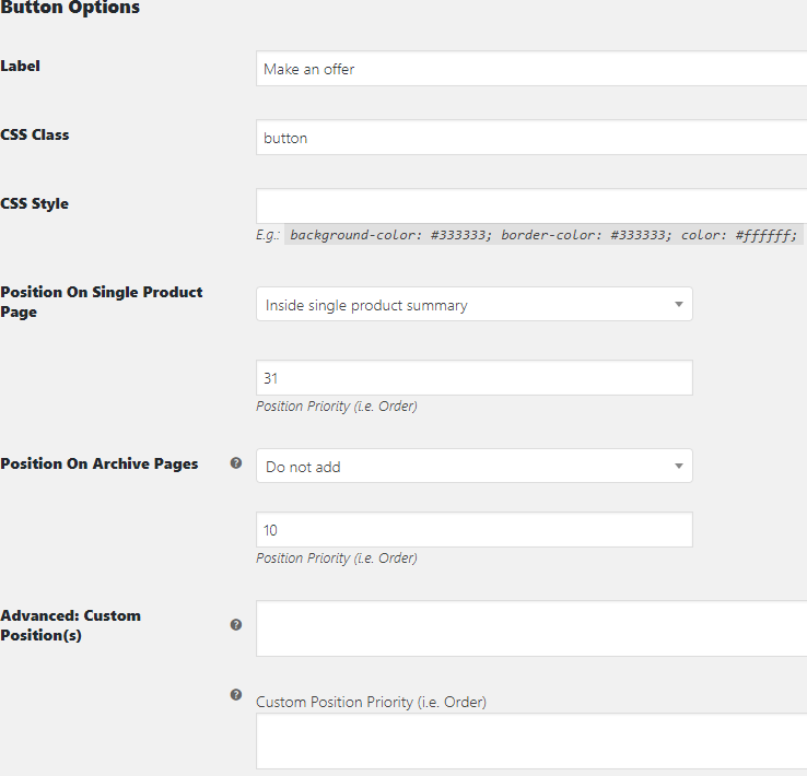 WooCommerce Offer Your Price - Admin Settings - Button Options