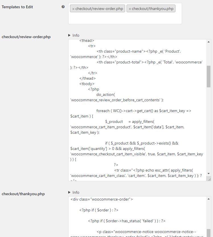 WooCommerce Template Editor - Admin Settings